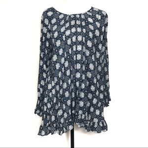 Jodifl Navy & White Printed Tunic Top Size Small